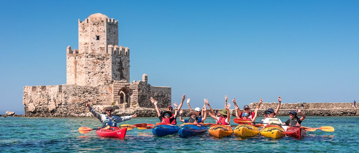 Sea kayaking in front of Methoni castle